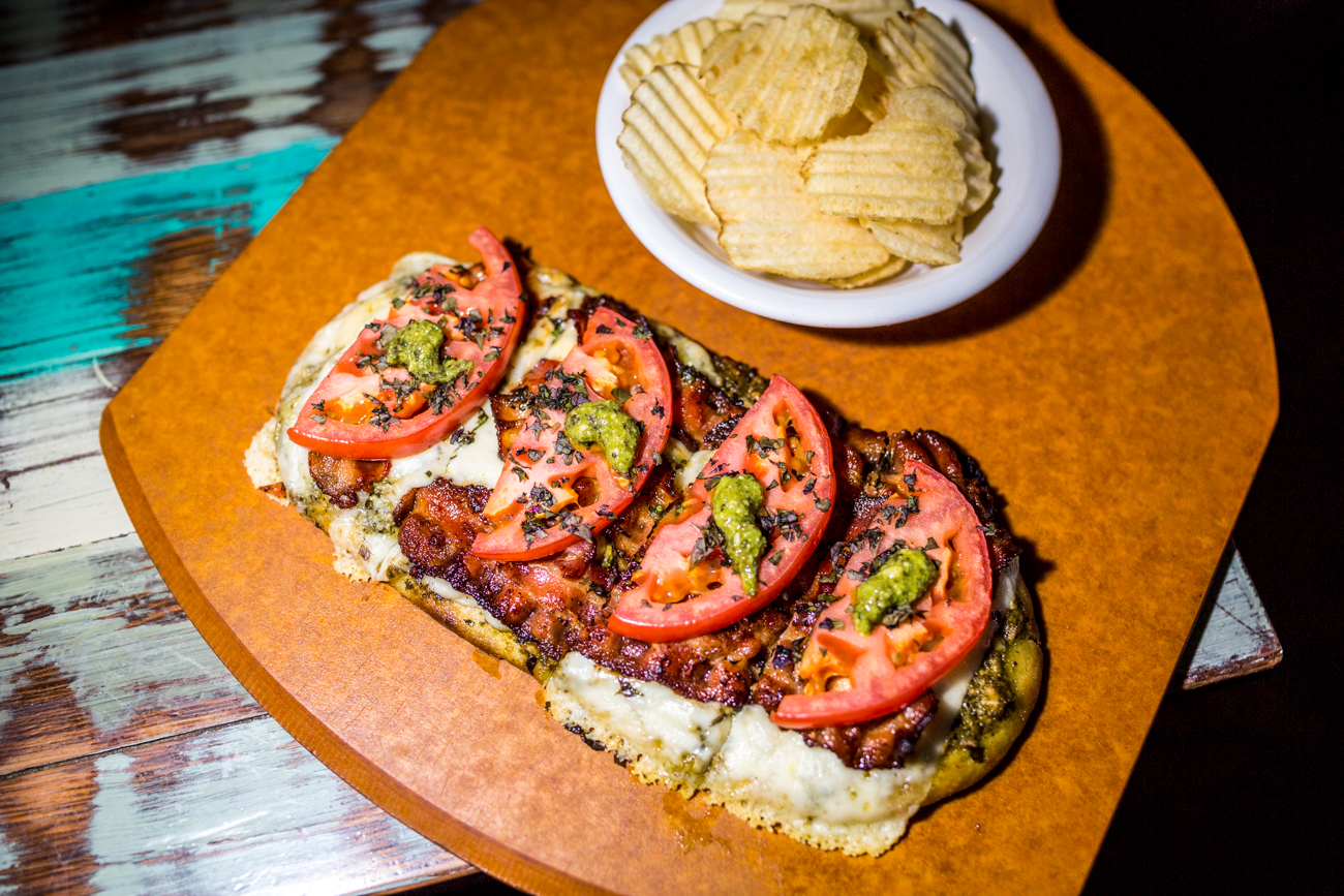 Twisted BLT: tandori naan flat bread topped with pesto, bacon, tomatoes, and topped with a dash of basil / Image: Catherine Viox // Published: 9.1.19