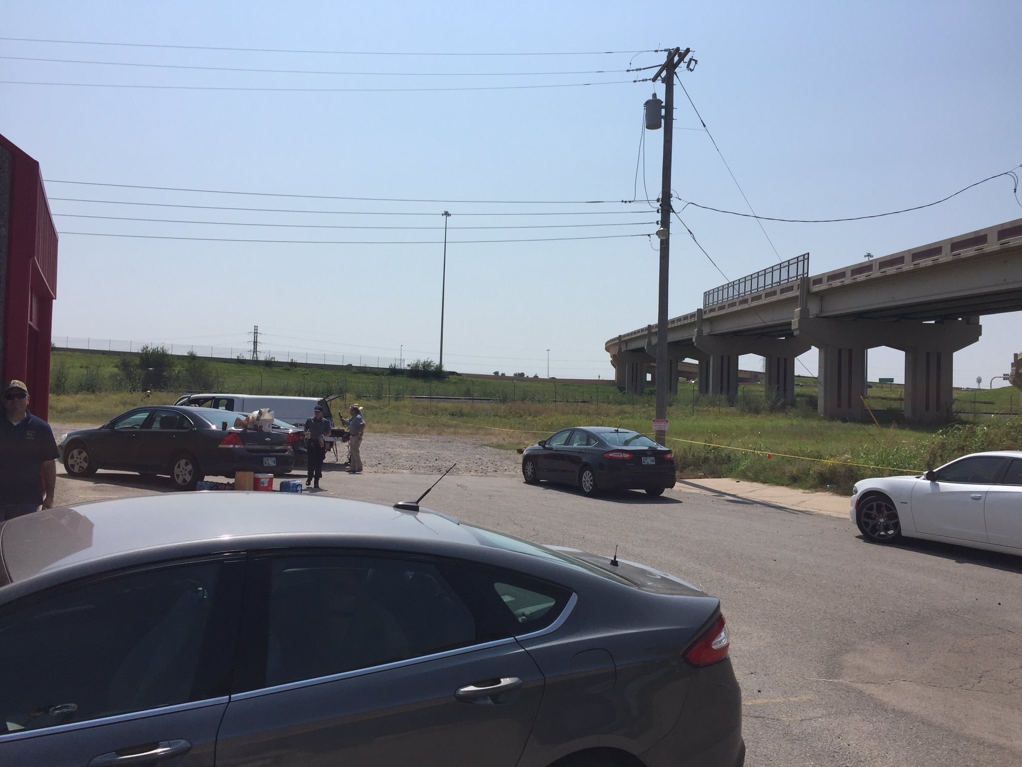 Authorities on the scene on Reno near Pennsylvania. (Anthony West / KOKH)