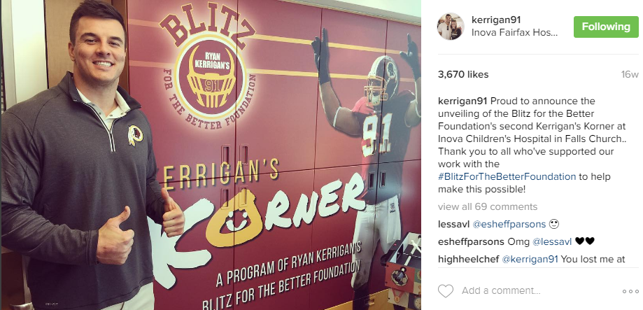 Kerrigan was also giving back to the community this season, unveiling his Blitz for the Better Foundation's second Kerrigan's Korner at Inova Children's Hospital in Falls Church. (Image: @kerrigan91 Instagram)