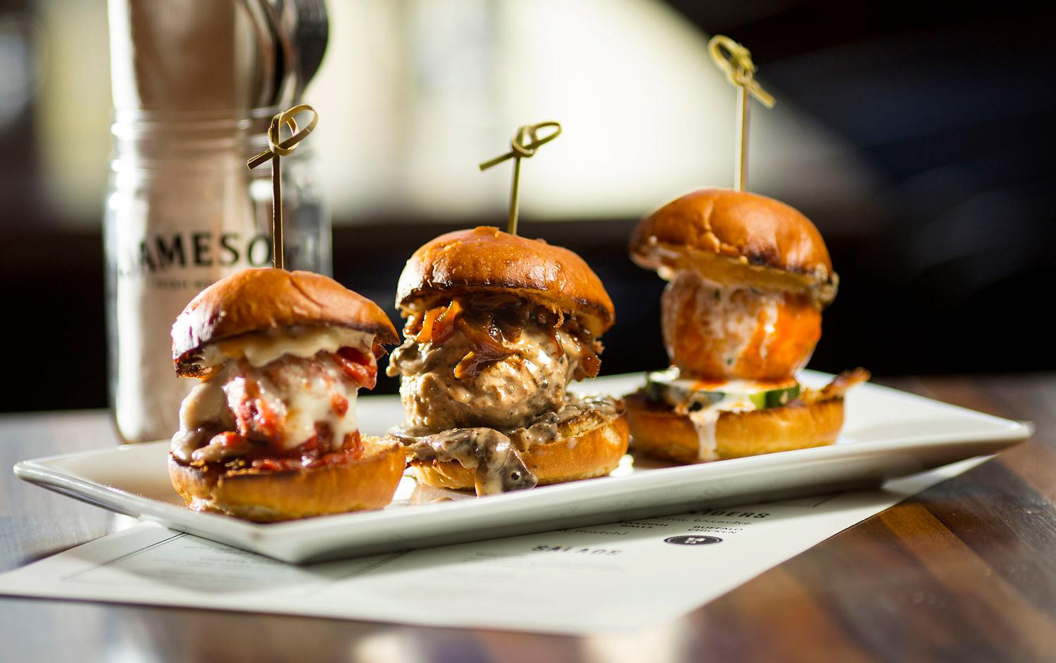 The Meatball Sliders come in three different styles (Jones Bros Original, Swedish Balls, and Buffalo Chicken), and are all served on Macrina brioche at Jones brothers & Co., located at 5449 Ballard Ave NW. (Sy Bean / Seattle Refined)