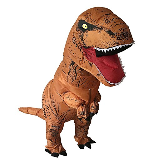 T-Rex. Roar some fun into Halloween with this inflatable dinosaur suit. The suit expands with the help of a fan fueled by batteries. (Image: Amazon.com){ }