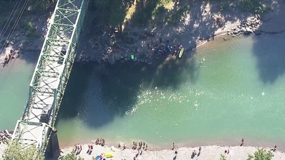 Water rescue near Glenn Otto Community Park in Troutdale - KATU image from Chopper 2