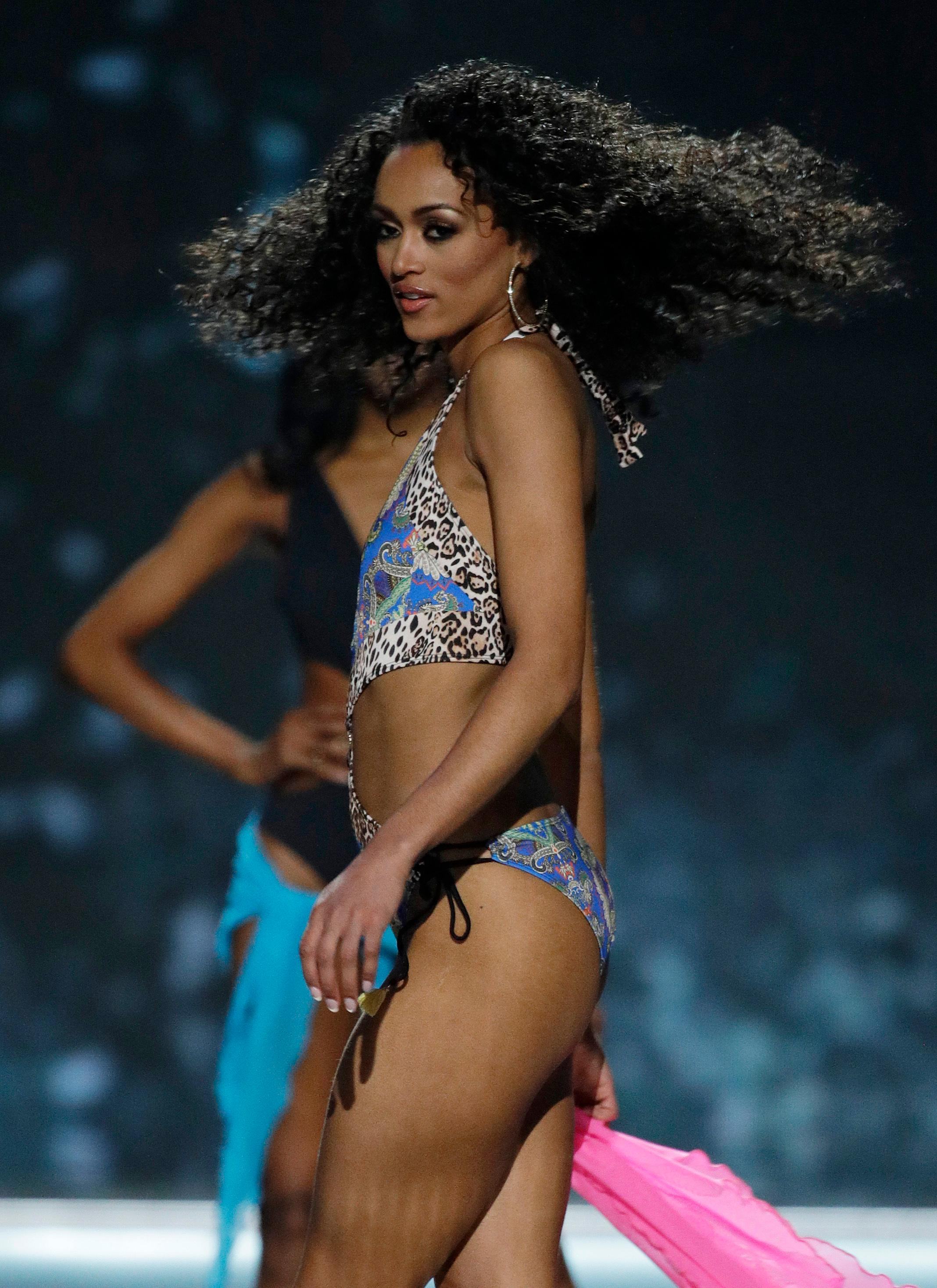 Miss District of Columbia USA Kara McCullough competes in the swimwear competition during the Miss USA contest Sunday, May 14, 2017, in Las Vegas. (AP Photo/John Locher)