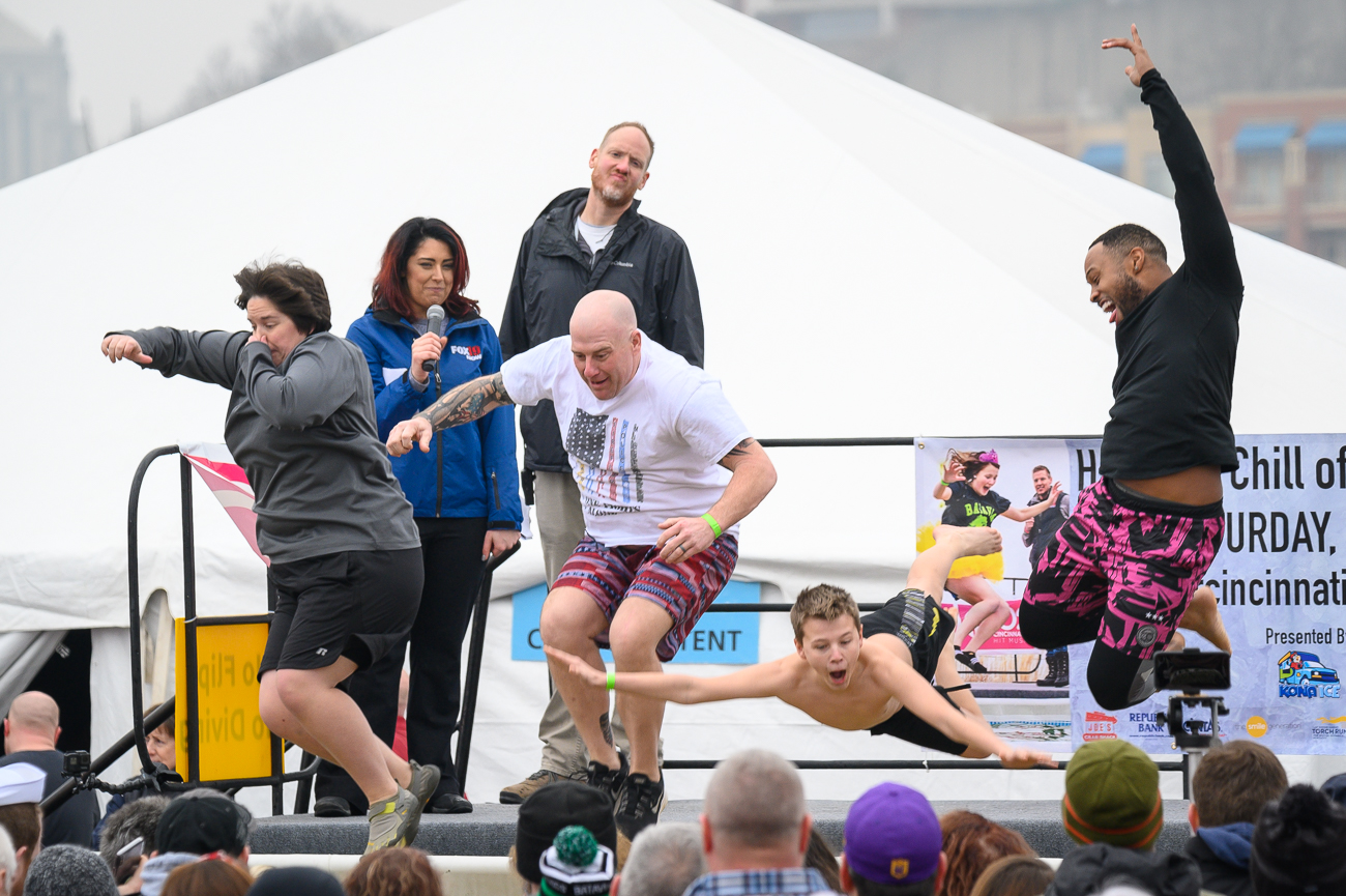 The 2020 Polar Plunge, a fundraiser for Special Olympics Kentucky and Ohio presented by Kona Ica, took place on Saturday, February 1 at Joe's Crab Shack in Bellevue. Teams and individuals jumped into cold, murky, brown water to raise a total of $135,000 this year. The emcees for this year's plunge were Catherine Bodak (Fox19) and Jon Jon (Q102). / Image: Phil Armstrong // Published: 2.1.20