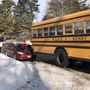Car crashes into school bus filled with kids in Buxton