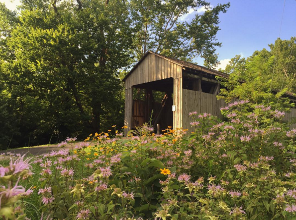 IMAGE: IG user @aliceschreiber / POST: Another amazing find while geocaching! This is the Black Covered Bridge, built in 1868-1869. It is the last remaining covered bridge in Butler County, Ohio.