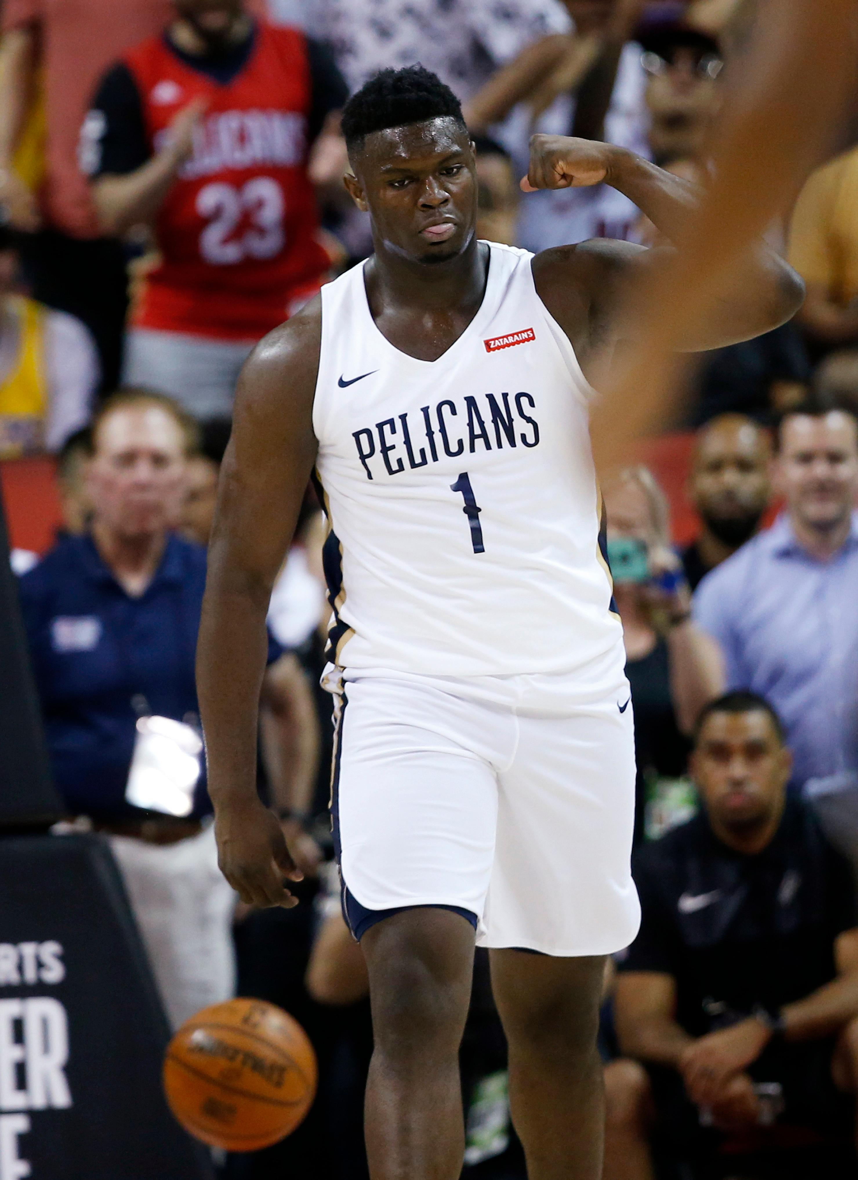 New Orleans Pelicans' Zion Williamson (1) reacts during the team's NBA summer league basketball game against the New York Knicks on Friday, July 5, 2019, in Las Vegas. (AP Photo/Steve Marcus)