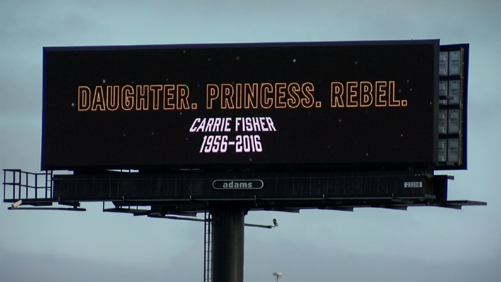 Billboards pay tribute to Carrie Fisher