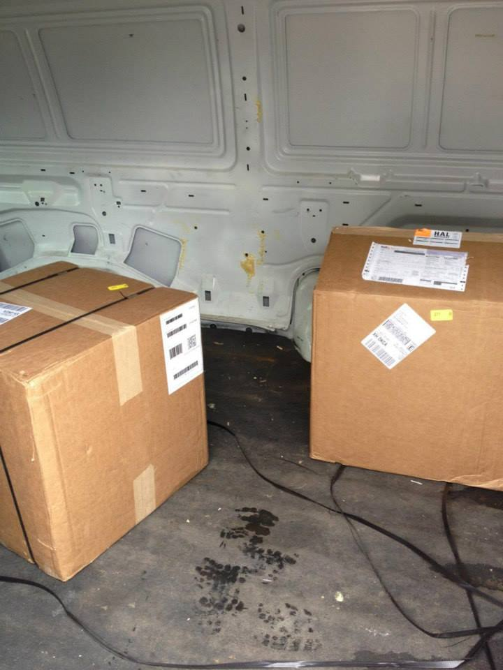 The deputy found 4 boxes addressed to the driver inside the van.