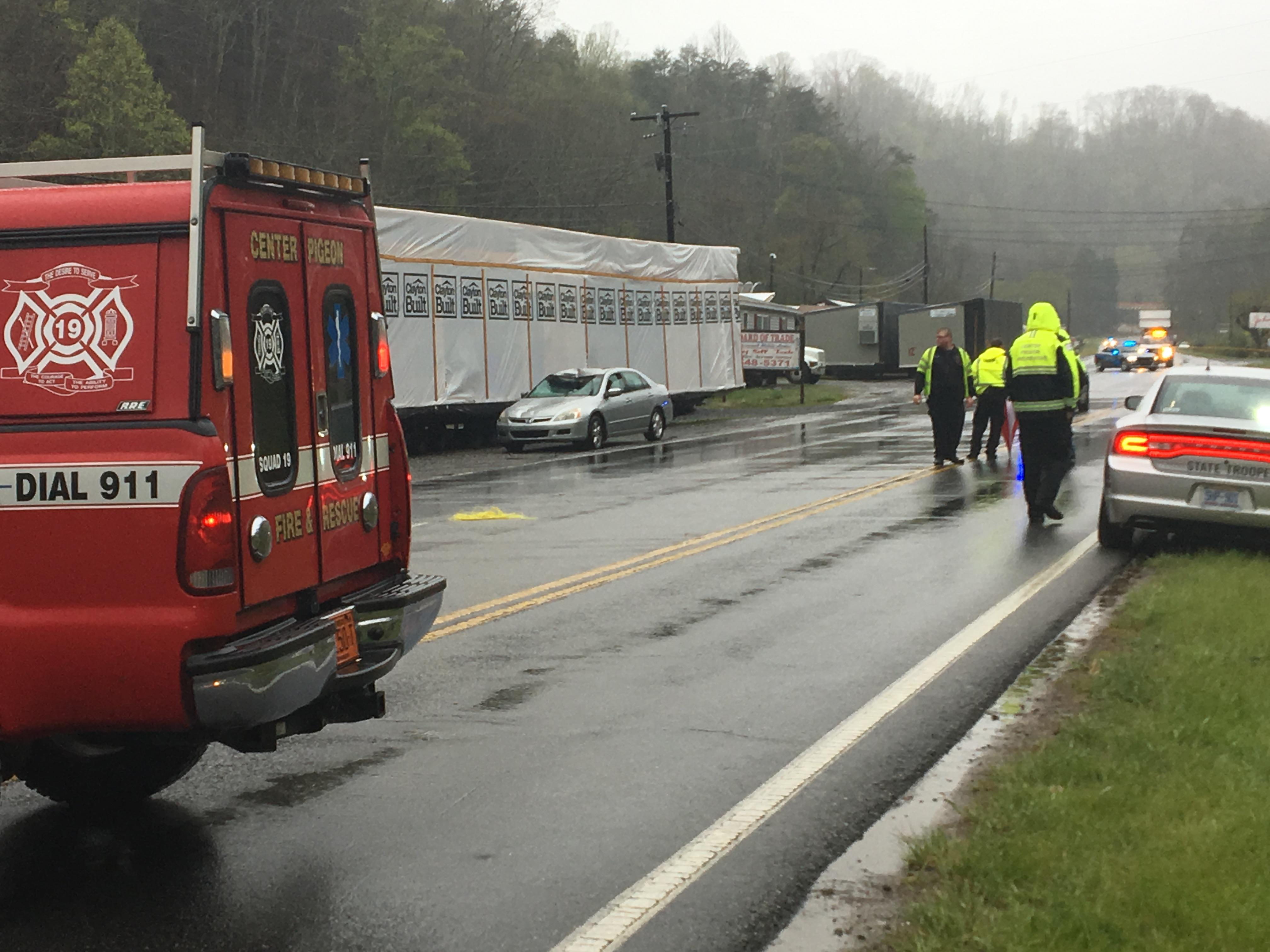 A deadly wreck has shut down Asheville Highway near Canton. It happened Monday afternoon at the 2700 block of Asheville Highway. (Photo credit: WLOS Staff)