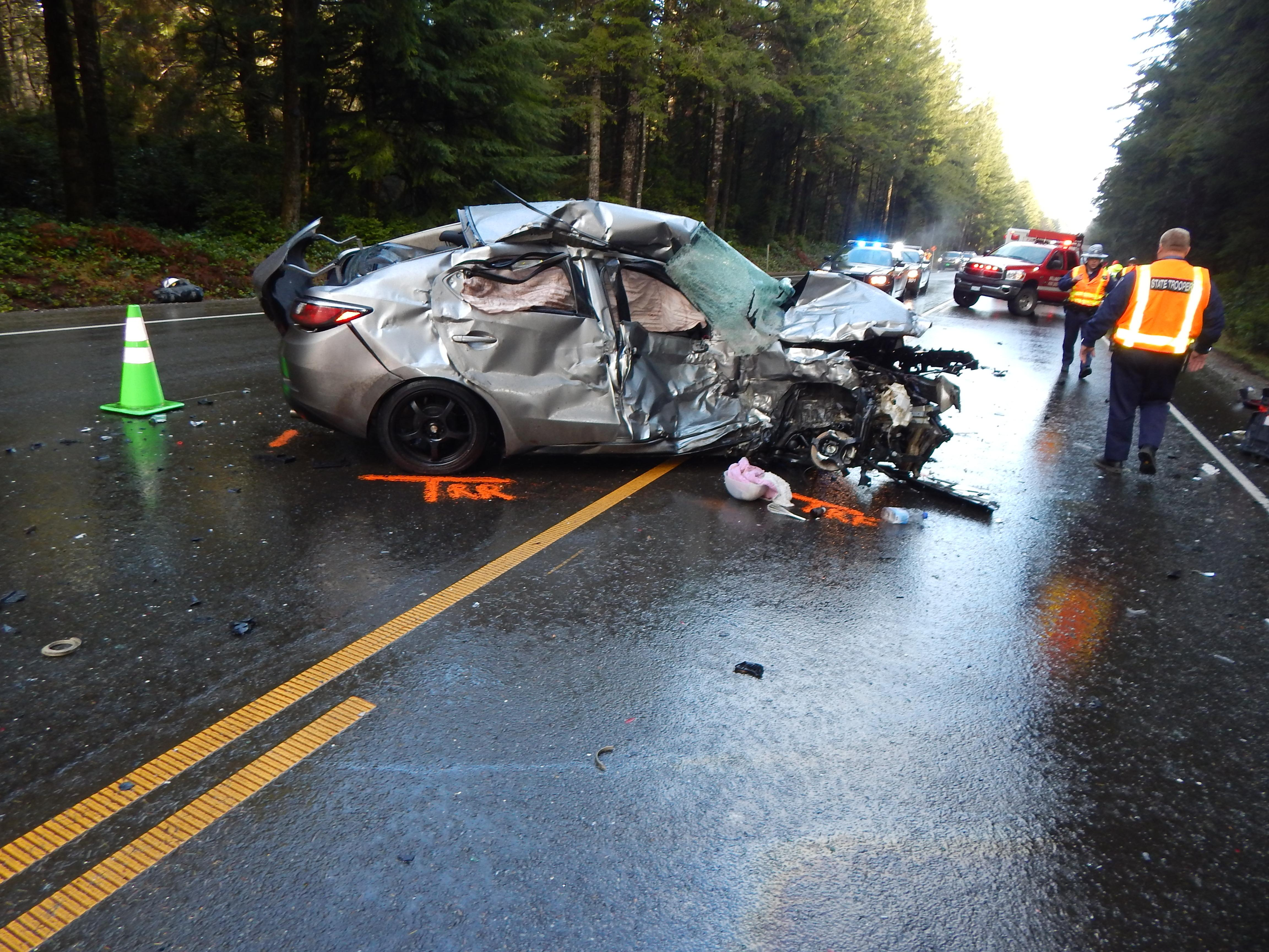 <p>A 25-year-old woman died when she lost control of her car on Highway 101 during a hail storm and crashed into an oncoming SUV Wednesday morning, Oregon State Police said.</p><p>Vanessa Goodwin of North Bend died from her injuries, police said. (OSP)</p>