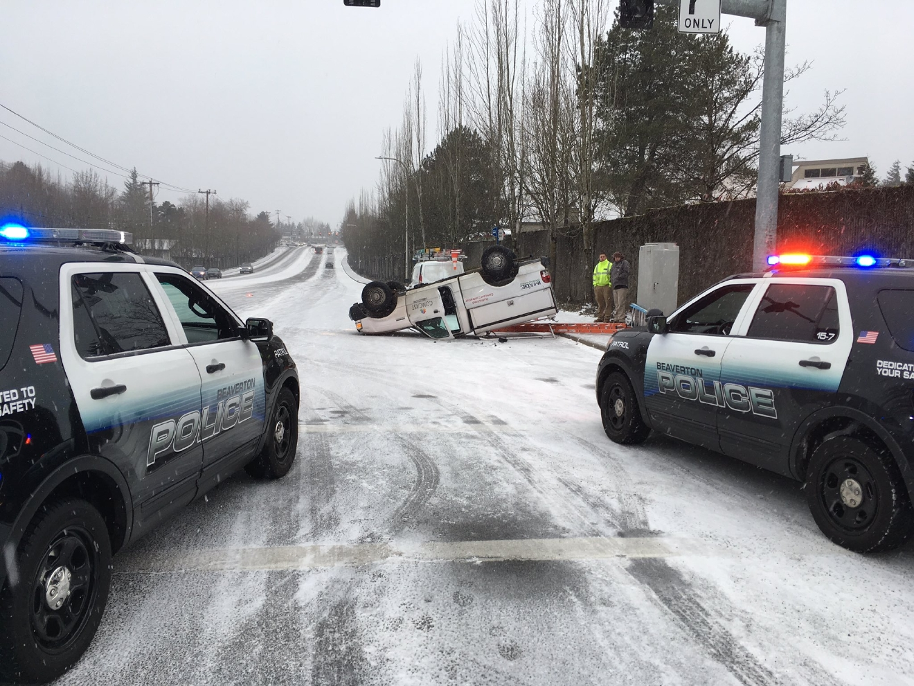Crash at Conestoga and Scholls Ferrry Road in Beaverton - Beaverton Police photo, January 7, 2017