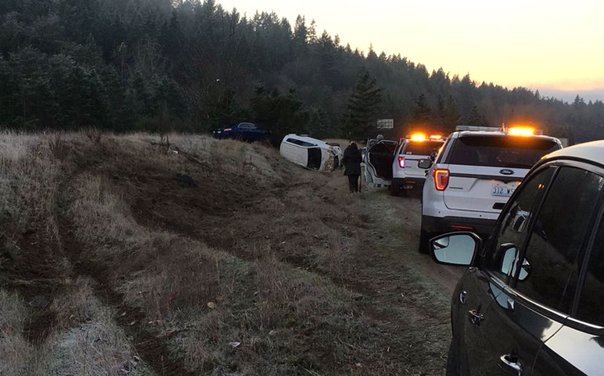 Multiple collisions caused lengthy backups on I-90 west of North Bend. (Wash. State Patrol photo)