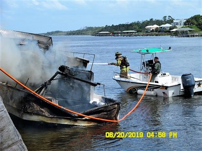 Boat catches fire in Flagler County | WTVX