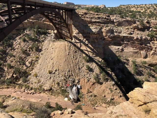 A semi truck driver was killed after he fell 200 feet into Eagle Canyon on Interstate 70 Saturday night. (Photo courtesy of Utah Highway Patrol){ }