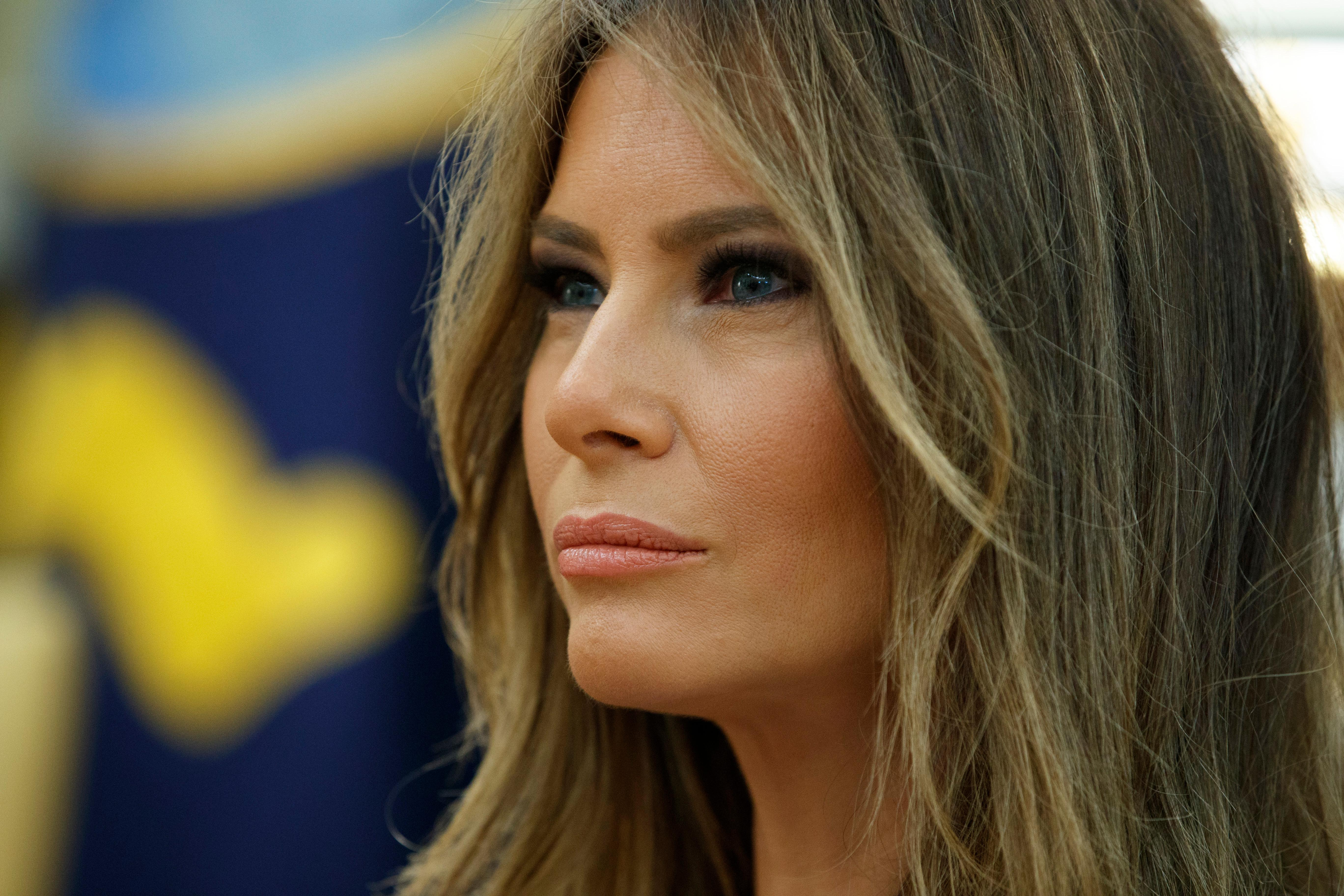 First lady Melania Trump listens during a meeting between President Donald Trump and Panamanian President Juan Carlos Varela, Monday, June 19, 2017, in the Oval Office of the White House in Washington. (AP Photo/Evan Vucci)