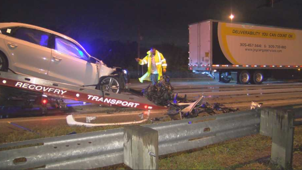 One person hospitalized after vehicle versus semi truck