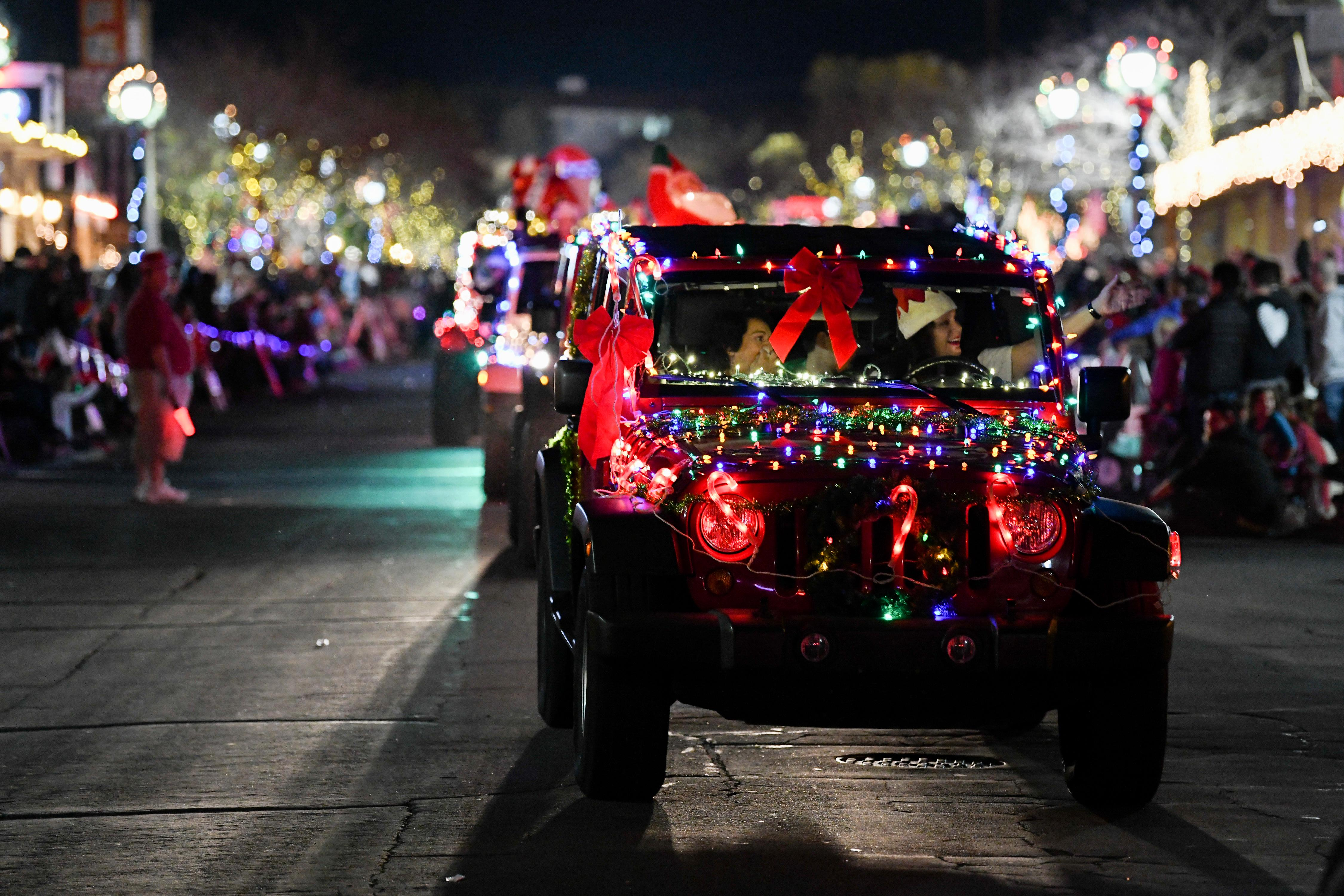 Decorated cars travel down Nevada Way during the Santa's Electric Parade Saturday, December 2, 2017, in Boulder City. [Sam Morris/Las Vegas News Bureau]