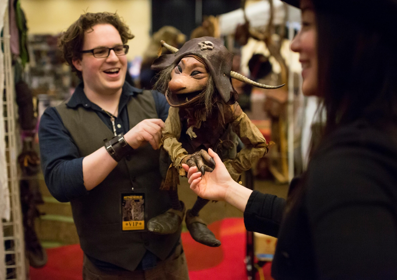 Toby Froud and his goblin-puppet Sydious meet interested convention-goers at Mythicworlds Convention and Masquerades. His mother Wendy Froud is best known for her work creating Yoda for the 1980 film Star Wars: The Empire Strikes Back. (Sy Bean / Seattle Refined)