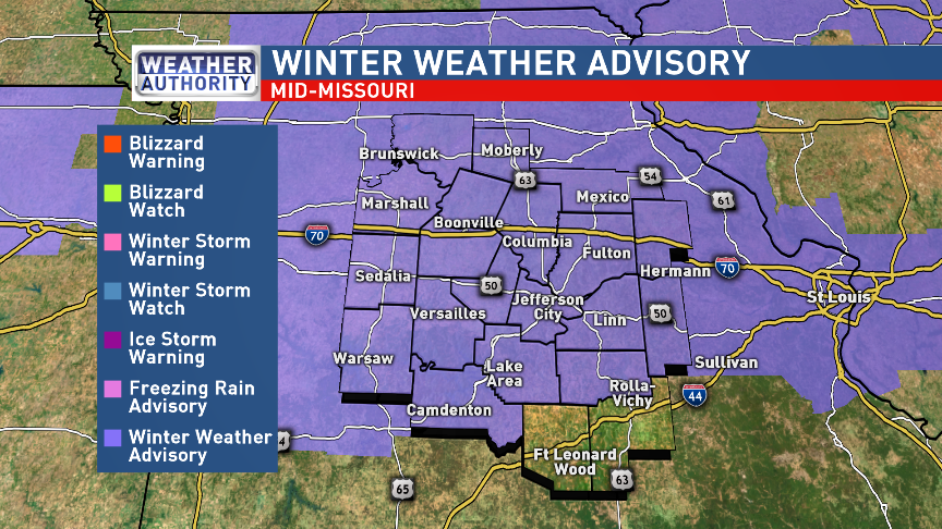 Winter Weather Advisory for mid-Missouri Monday evening.{ }