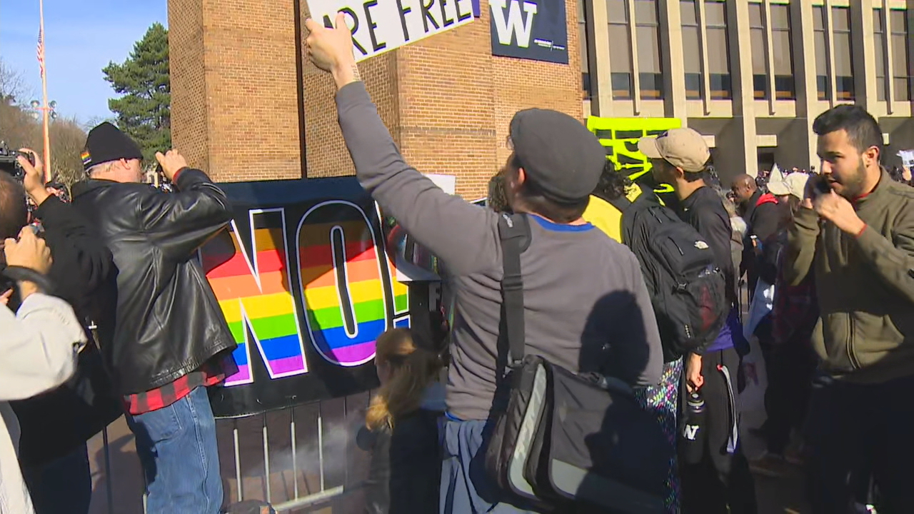 Day of protests at UW (Photo: KOMO News)<p></p>