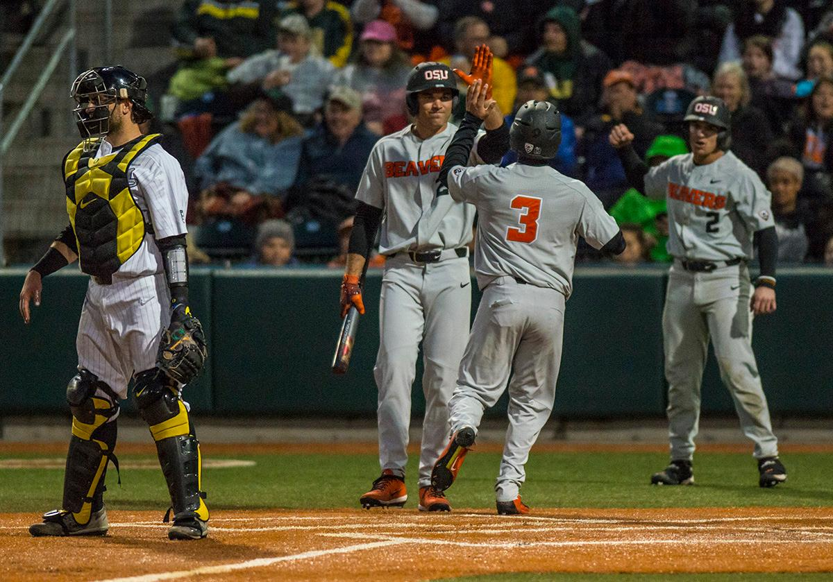 Oregon State Beavers Nick Madrigal (#3) makes it home for a run. The Oregon State Beavers defeated the Oregon Ducks 5-4 in game two of the Civil War three-game series on Friday night at PK Park. This loss is the fifth straight loss for the Ducks, in which four have been by a single run. The final game of the Civil War series will be on Saturday, May 13th at 7pm. Photo by Rhianna Gelhart, Oregon News Lab