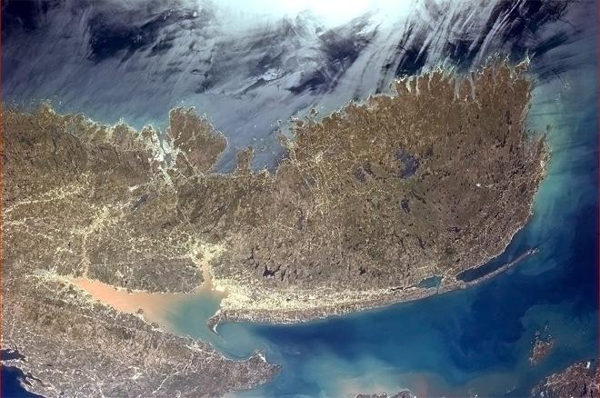 Nova Scotia and her surrounding waters, the land showing the first green of Spring. (Photo & Caption: Col. Chris Hadfield, NASA)
