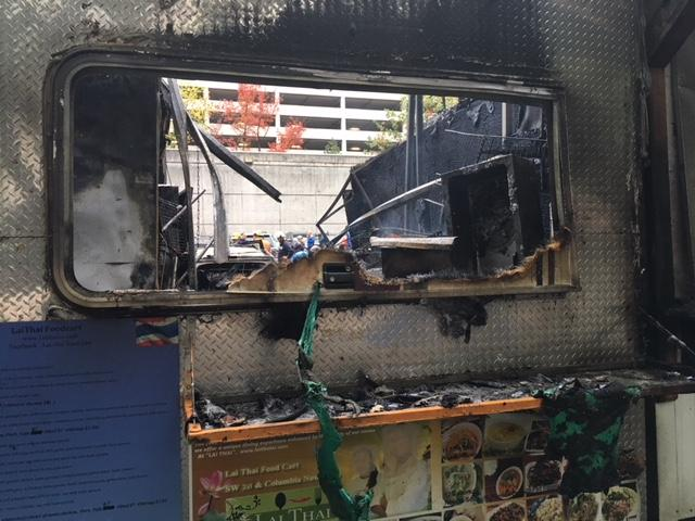 Lai Thai food cart catches fire - Photo from Monty Orrick 2.JPG