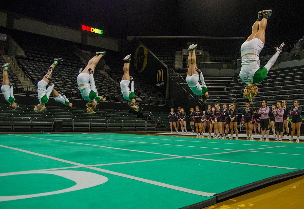 The Oregon Ducks Acro and Tumbling Team led in all six event categories and defeated Fairmont St . Falcons 288.425 to 272.270 in Matthew Knight Arena Friday night. The next home meet for the Ducks will be against Azusa Pacific on April 8th. Photo by Levi Gittleman, Oregon News Lab