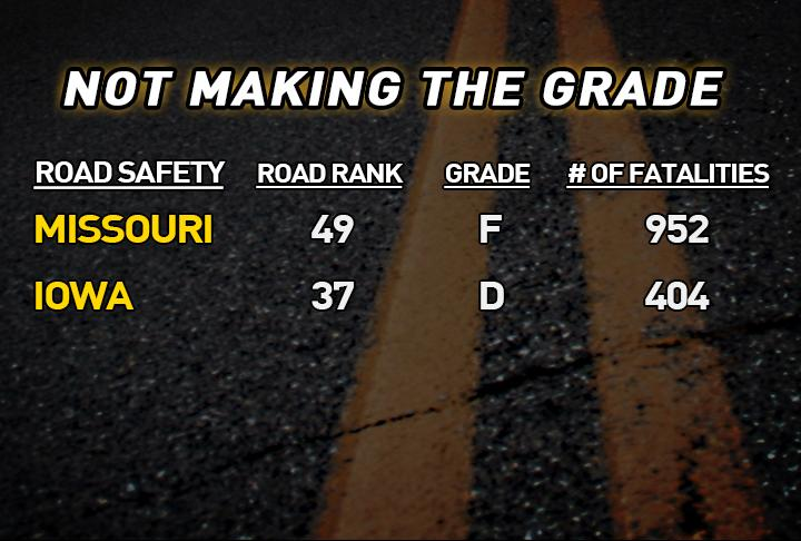 Missouri and Iowa don't make the grade when it comes to roadway safety. (KTVO:Riley Fannon)<p></p>