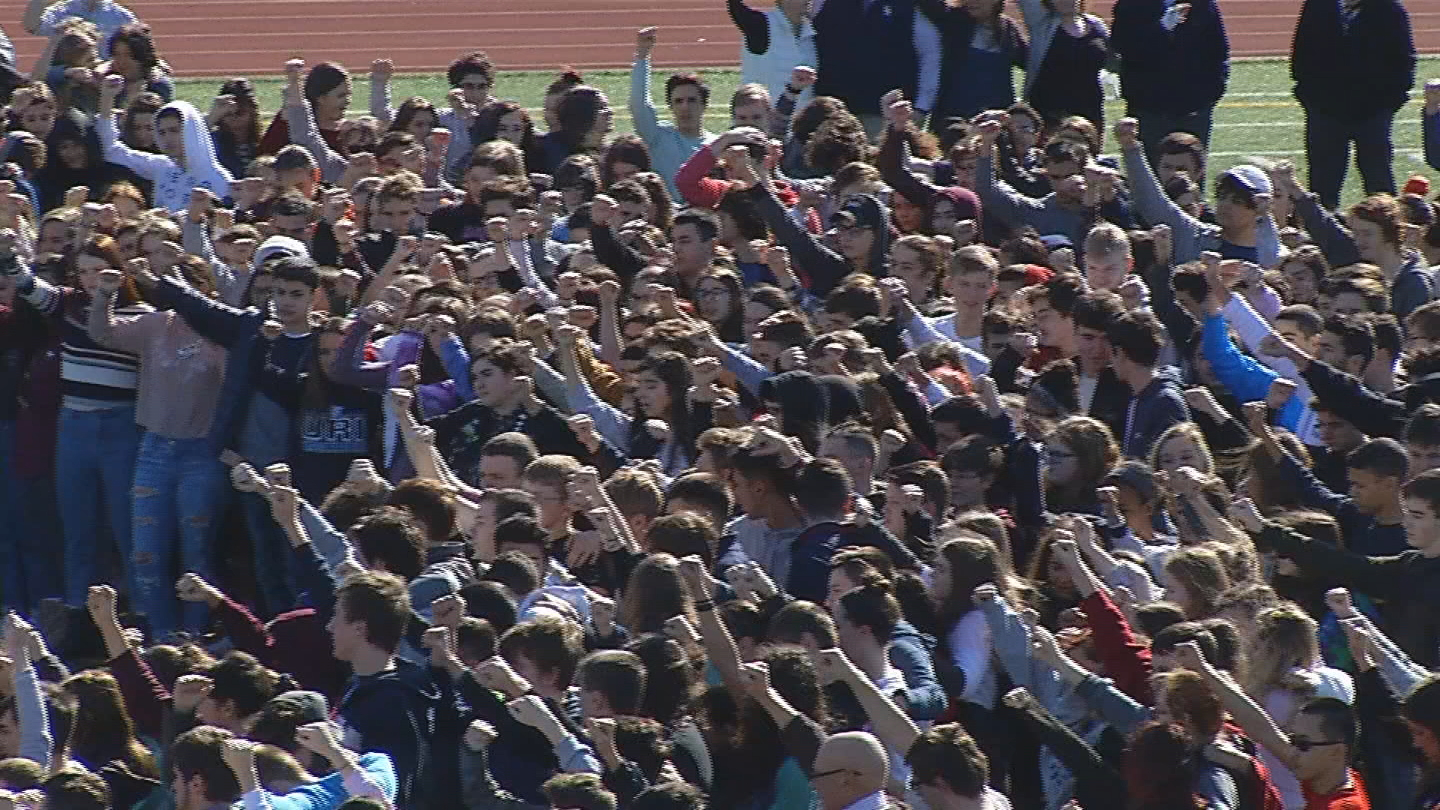<p>Students at Somerset Berkley Regional High School gather on the football field to show their support for students in Parkland, Fla., Wednesday, Feb. 28, 2018. (WJAR)</p>