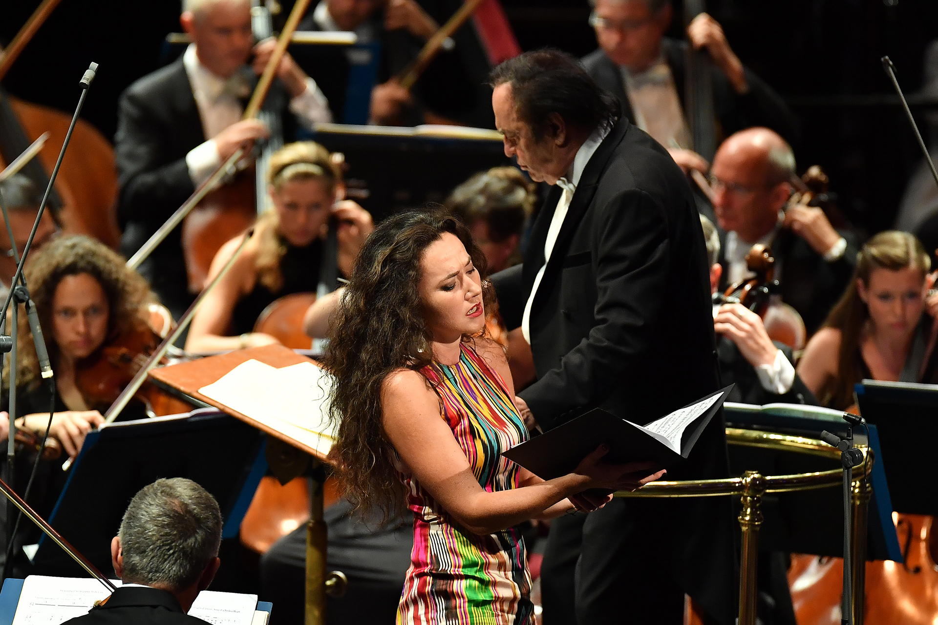 Mezzo-soprano Stéphanie d'Oustrac performs Manuel de Falla's El amor brujo with the Royal Philharmonic Orchestra conducted by Charles Dutoit at the BBC Proms at the Royal Albert Hall.  Featuring: Stéphanie d'Oustrac, Charles Dutoit Where: London, United Kingdom When: 17 Aug 2017 Credit: BBC/Chris Christodoulou/Supplied by WENN.com  **WENN does not claim any ownership including but not limited to Copyright, License in attached material. Fees charged by WENN are for WENN's services only, do not, nor are they intended to, convey to the user any ownership of Copyright, License in material. By publishing this material you expressly agree to indemnify, to hold WENN, its directors, shareholders, employees harmless from any loss, claims, damages, demands, expenses (including legal fees), any causes of action, allegation against WENN arising out of, connected in any way with publication of the material.**