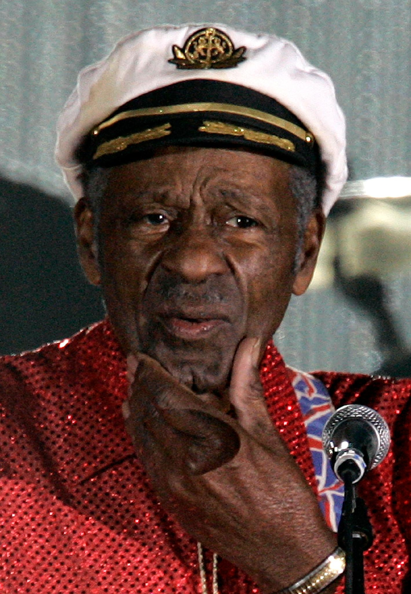 "FILE - In this Saturday, March 28, 2009 file photo, American guitarist, singer and songwriter Chuck Berry appears at the ""Rose Ball"" in Monaco. On Saturday, March 18, 2017, police in Missouri said Berry has died at age 90. (AP Photo/Lionel Cironneau)"