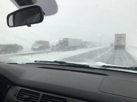 An intense burst of snow squalls led to a crash that shut down sections of the New York State Thruway eastbound on Tuesday afternoon. (Photo: WKBW)