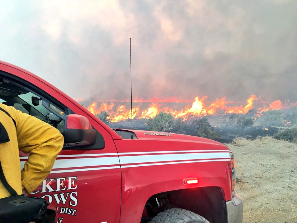 Truckee Meadows Fire crews assist with the Long Valley Fire near Doyle, Calif., on Wednesday, July 12, 2017. (Courtesy: Truckee Meadows Fire)