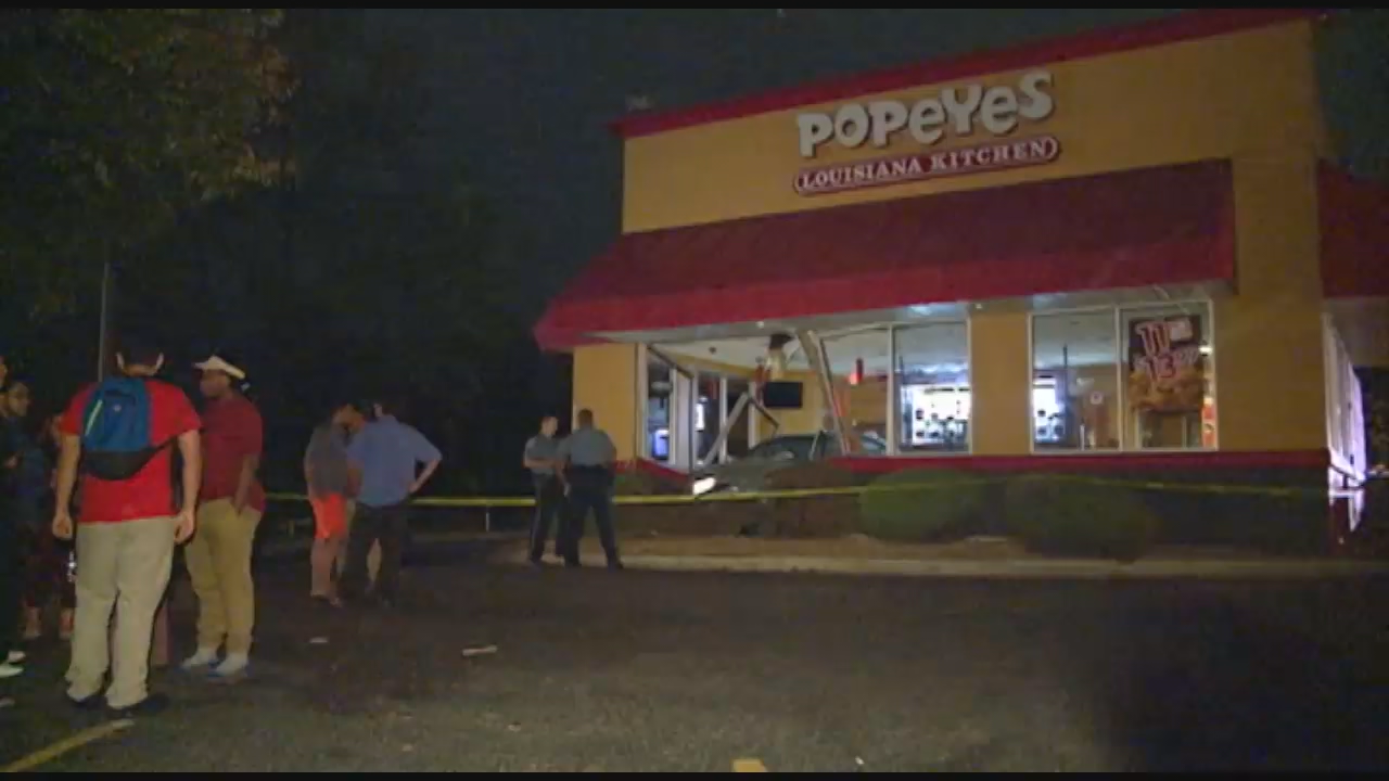 Police: Car accidentally backs into Md. Popeyes, crashed through structure. (ABC7)