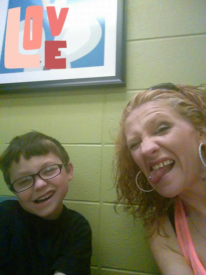 Six-year-old Jacob Hall (shown here with his mother, Renae Hall), who was shot at Townville Elementary School Wednesday, has died. (Family photo)