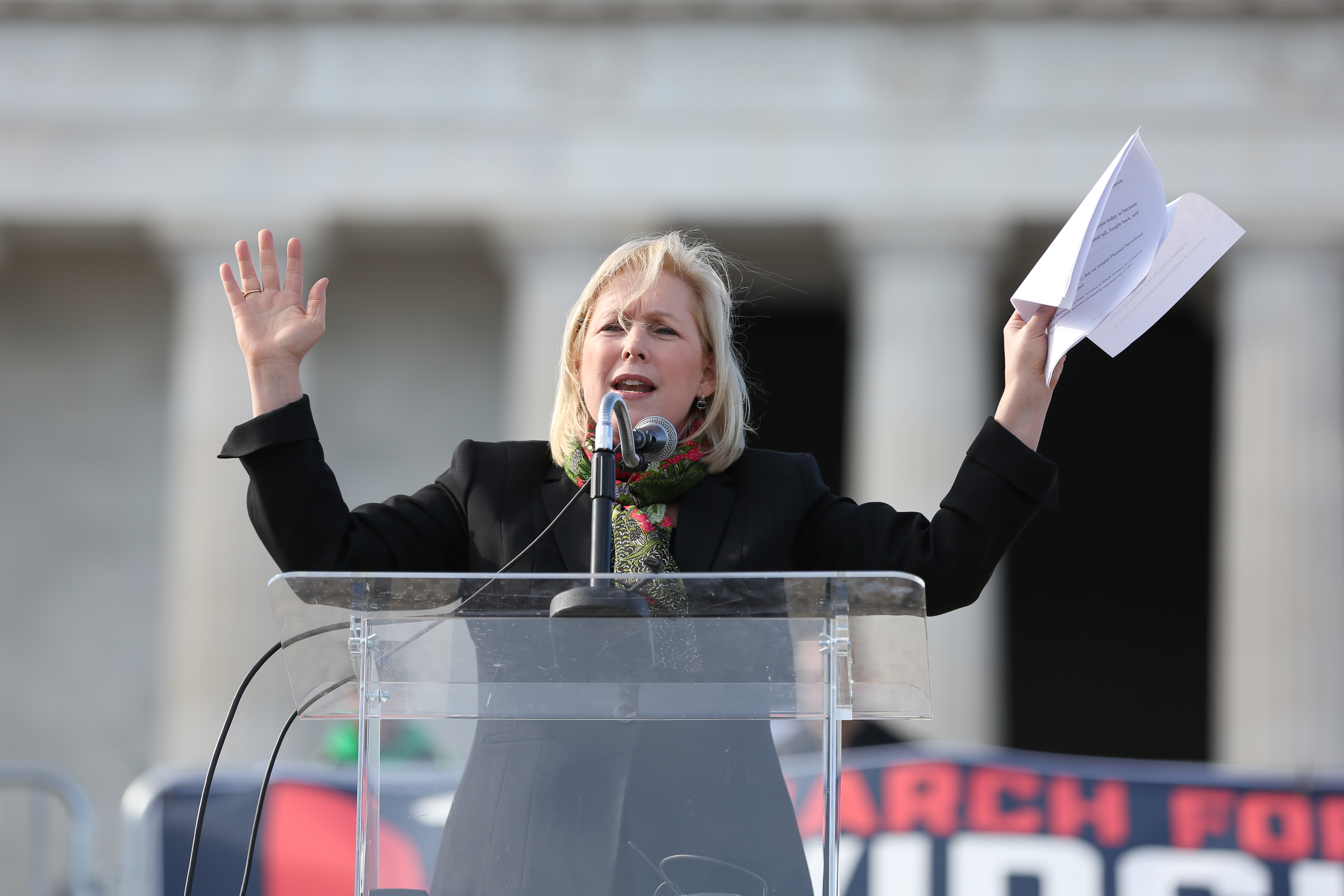 Senators Kristen Gillibrand, Tim Kaine, Congresswoman Nancy Pelosi and Democratic politicians took the podium, although they didn't have major speaking roles in 2017. (Amanda Andrade-Rhoades/DC Refined)