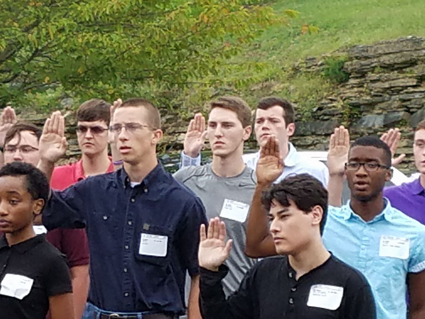 Shrader, center, taking his oath for the Army (Source: Facebook, taken with permission from The Shrader Family)<p></p>