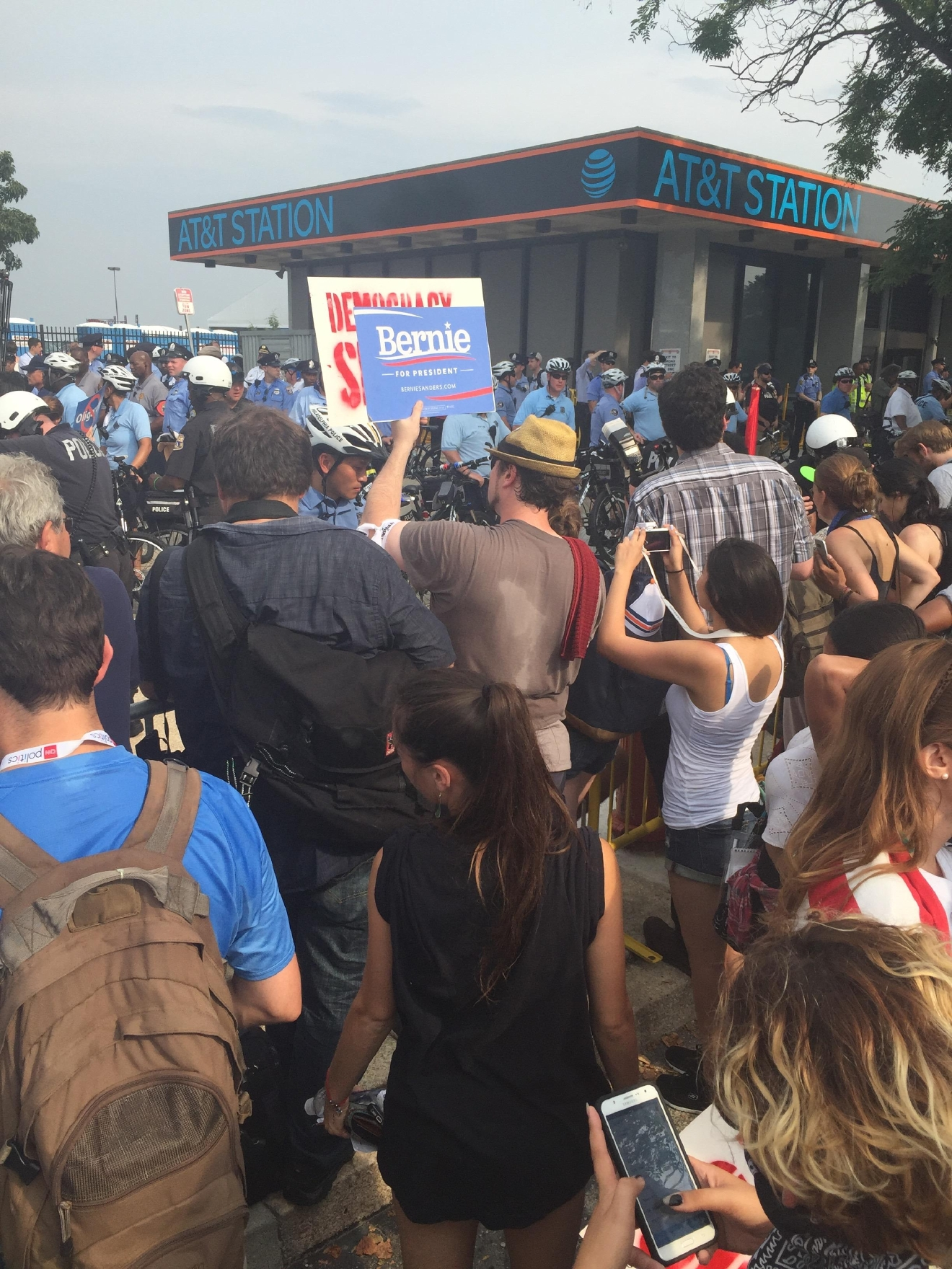 Bernie Sanders supporters gather outside of the Democratic National Convention. (Amanda Ota, Sinclair Broadcast Group)