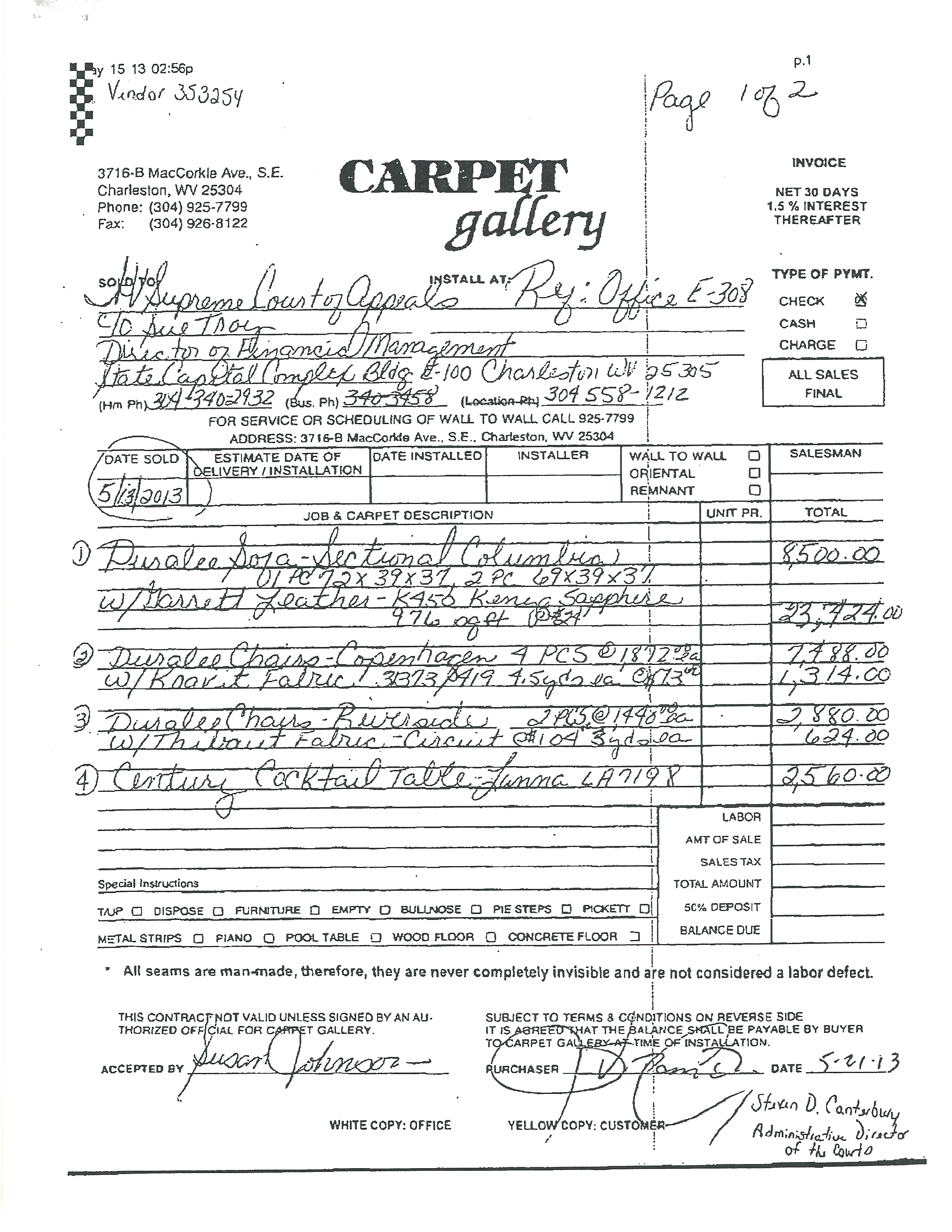 The invoice details the billing from Carpet Gallery for furniture, including the blue sectional sofa, for Chief Justice Allen Loughry's chambers. (WCHS/WVAH)<p></p>