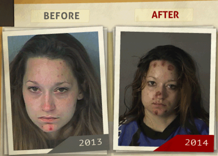 Side-by-side 2013 and 2014 photo taken of woman who reportedly had a 'possession of a controlled substance ' charge. (Photo, info from rehabs.com/)