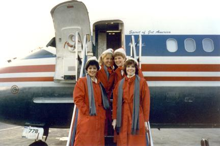 Jet America Flight Attendants: Debbie Cutrona, Suzie Ziegler and Shirley Hoffman - Photo courtesy Alaska Airlines