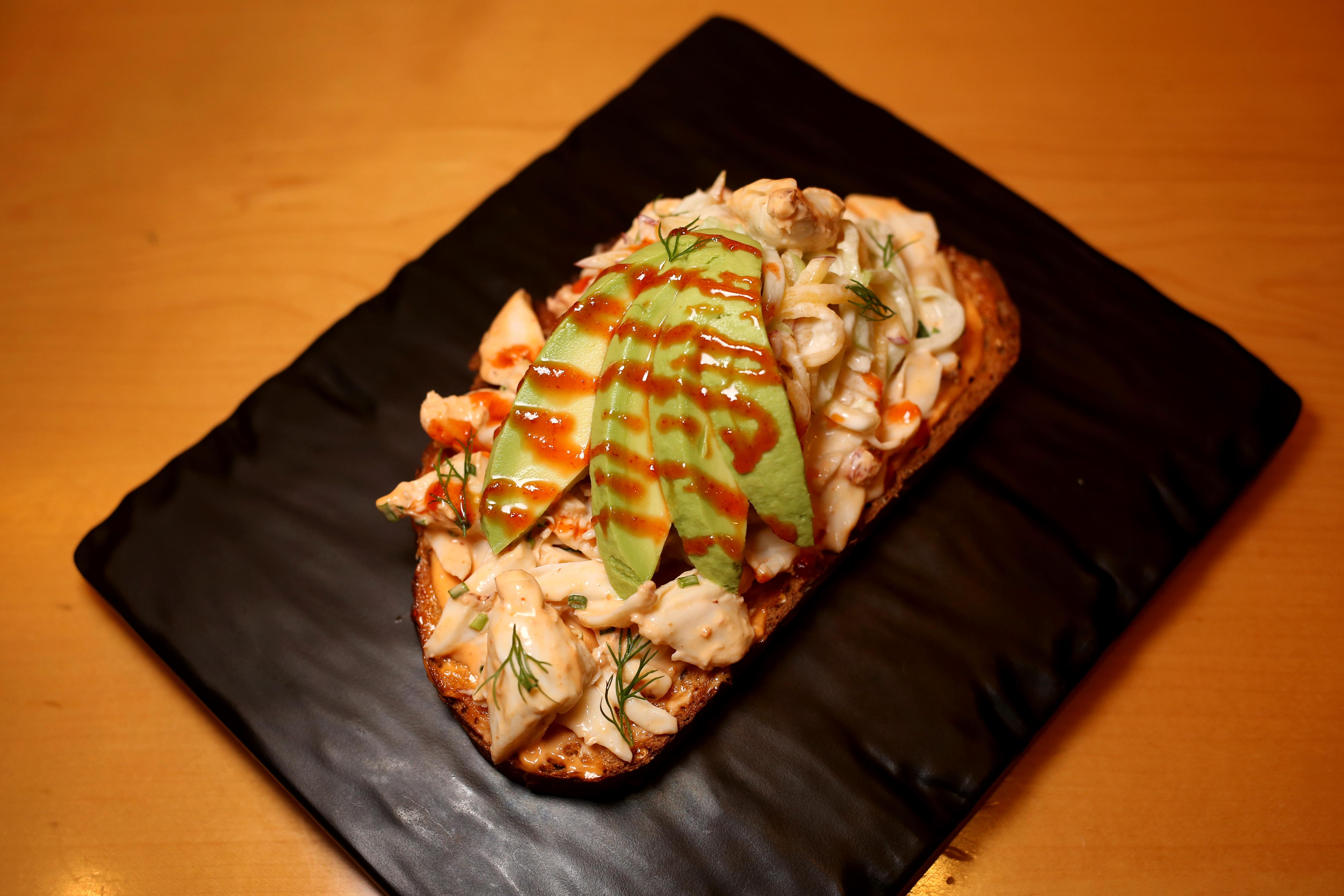 In the spirit of trying to embrace the East Coast lifestyle, we had to include the crab toast, which comes topped with avocado. The dish also comes with Sriracha, which is actually manufactured in southern California, and a peach-chayote slaw. Chayote has a stronghold in Los Angeles cuisine because of its ties to Latin-American cooking, so this take on avocado toast tastes like east-meets-west. (Amanda Andrade-Rhoades/DC Refined)