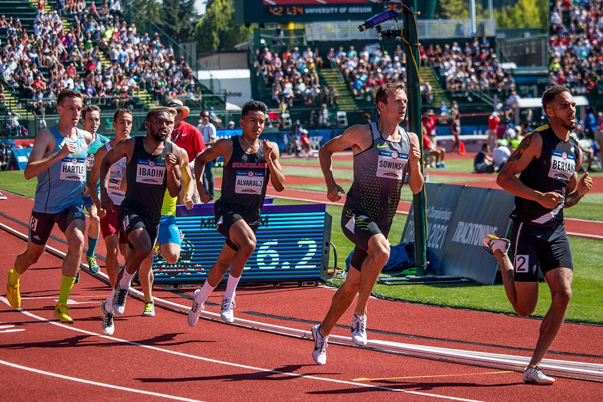 Runners compete in the second heat of the prelims for the men�s 800 meter run. Berian and Sowinksi qualified for the finals on Thursday with 1:46.03 and 1:46.17. Day One of the U.S. Olympic Trials Track and Field began on Friday at Hayward Field in Eugene, Ore. and will continue through July 10. Photo by Katie Pietzold