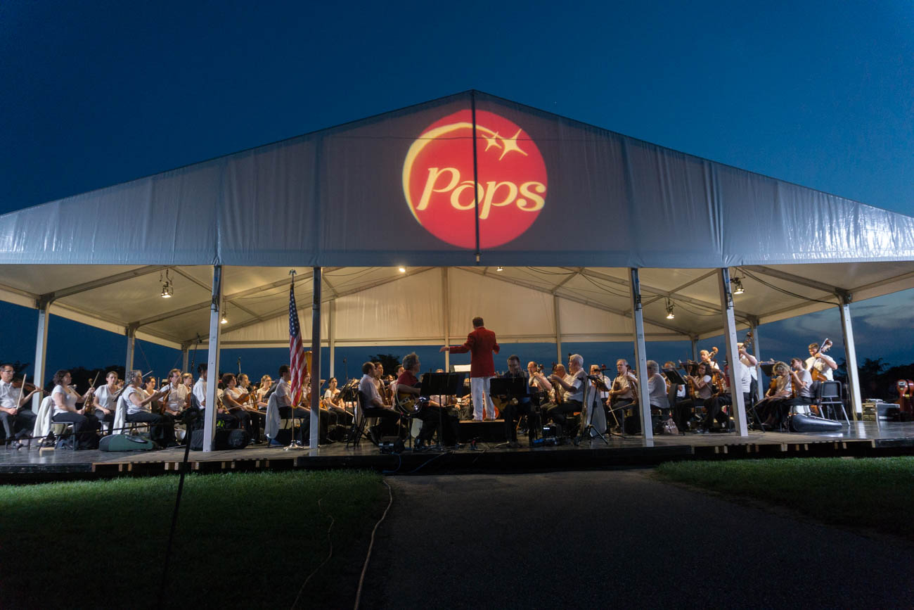 Cincinnati Pops, led by conductor John Morris Russell, held a free concert at Woodland Mound on Monday, July 31. Accompanied by a spectacular view, along with food and drinks from local breweries, the Pops played a variety of music, from Beethoven to Gershwin to Duke Ellington. The event was presented by the Great Parks Foundation. / Image: Sarah Vester // Published: 8.1.17