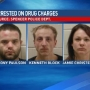 Three arrested after authorities watch them throw drug paraphernalia out window