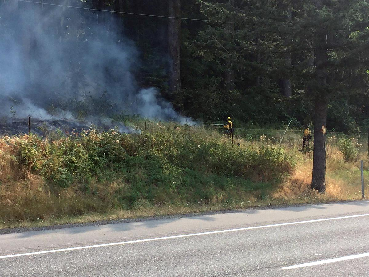 Fire crews work to put out a hotspot along Interstate 84 Thursday, Sept. 7, 2017. (Photo: Kellee Azar/KATU News)