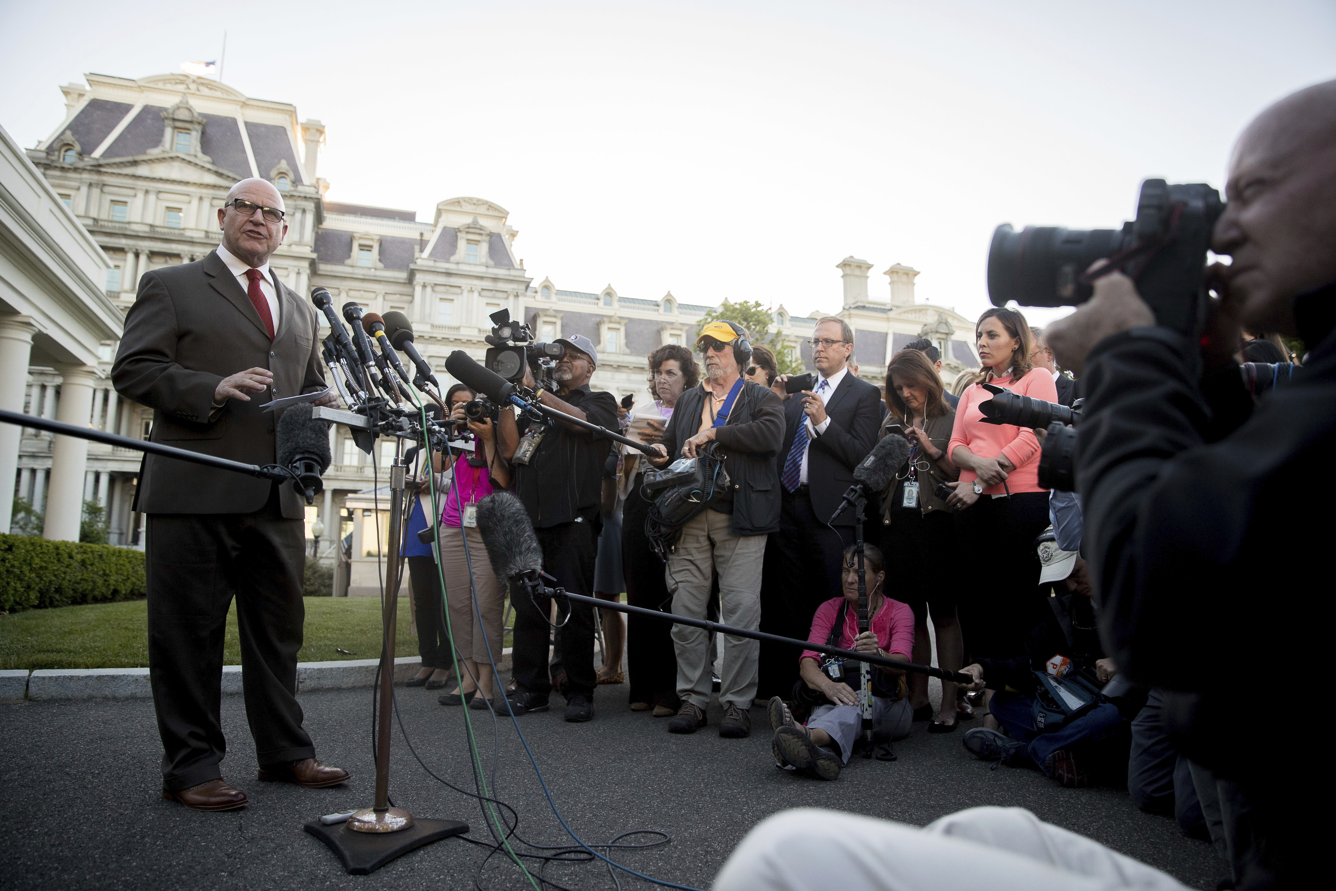 National Security Adviser H.R. McMaster speaks to members of the media outside the West Wing of the White House, Monday, May 15, 2017, in Washington. (AP Photo/Andrew Harnik)