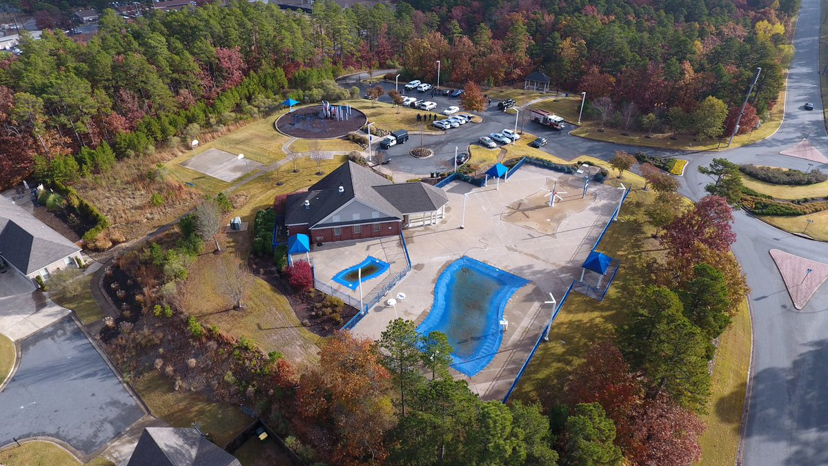 This aerial shot from Sky7 shows a view of the area at Chalamont Park where authorities gathered to search for clues in the disappearance of Ebby Steppach. (KATV photo)